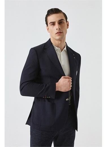 Damat Regular Fit Çizgili Kumaş Ceket Lacivert